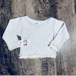 Bloom Baby Blue & White Baby L/S Top SZ 6-12 M NWT